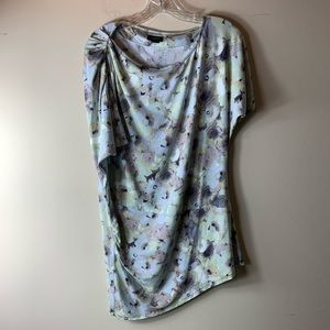 Anthropologie Deletta Asymmetrical Watercolor Top